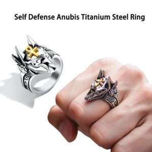 Unisex Self Defense Ring Punk Anubis Egyptian Cross Beast Anti-wolf Finger Ring Steel Vintage Wolf Rings Gift Adjustable size
