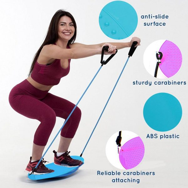 Multiple Functions ABS Balance Board With Resistance Bands Abs Leg Muscle Training Building Balance Board Fitness Equipment