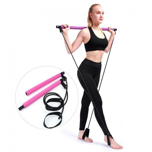 New Fitness Sport Pilates Bar Kit Gym Workout Stick Pilates Exercise Bar Kit with Resistance Band Body Building Puller Yoga Rope