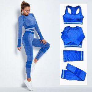 4Pcs Women Vital Seamless Yoga Set Sports Bra+Crop Top Shirts+Shorts+High Waist Leggings Gym Clothing Sports Wear For Women