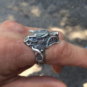 Vintage Men's Ring Gothic Style Wolf Head Ring Motorcycle Party Punk Animal Jewelry Biker Cool Finger Ring Men Gift Accessories