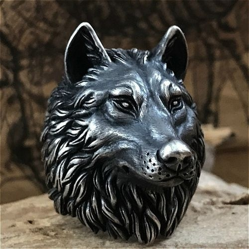 Personality Wolf Head Rings for Motorcycle Party Domineering Cool Punk Animal Silver Color Rings for Men Jewelry Accessories
