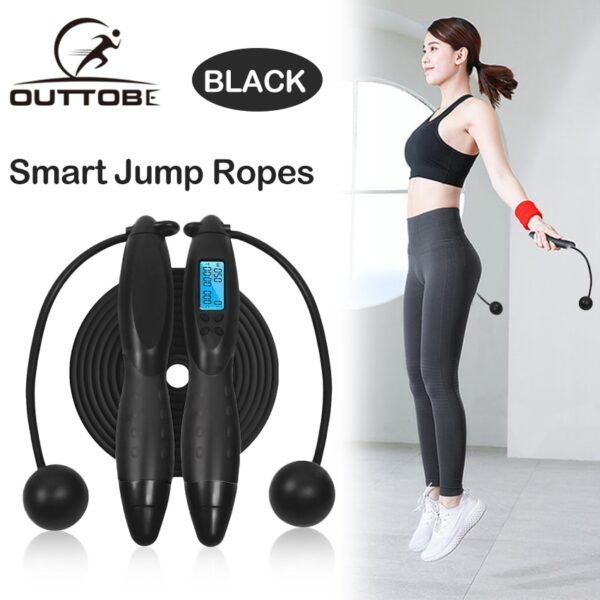 Outtobe Smart Jump Rope Fitness Sport Skipping Ropes with Anti-Slip Hand Grip with Anti-Slip Hand Grip with LCD Screen Showing